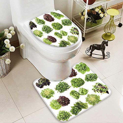 Salad Microfiber (Large Contour Mat varieties of salads in front of white background Non-Slip Microfiber Bathroom mat with Anti Skid)