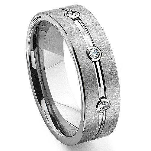 (Tungsten Diamond Ribbed Wedding Band Ring Sz 10.5 SN#651)
