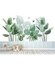 Groene tropische bladeren muursticker, palmblad planten muursticker, Nordic Tropische Planten Schildpad Bladeren Muurstickers voor Kinderkamer Woonkamer Wallpaper