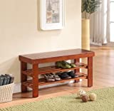 Light Brown Finish Solid Wood Storage Shoe Bench Shelf