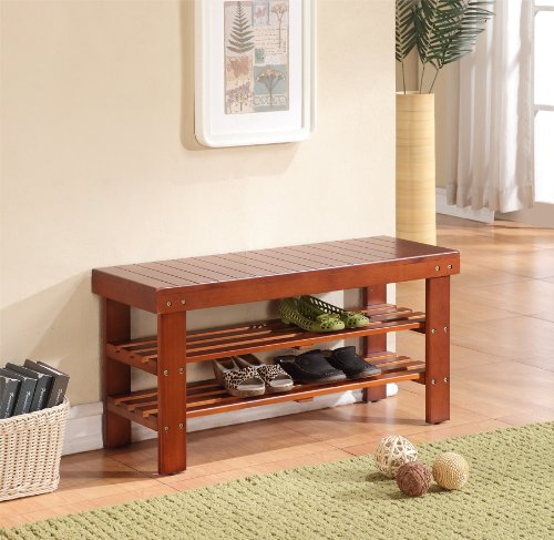 Light Brown Finish Solid Wood Storage Shoe Bench Shelf by eHomeProducts (Image #1)
