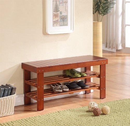 Light Brown Finish Solid Wood Storage Shoe Bench Shelf