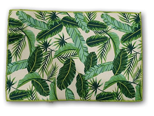 Palm Tree Leaves - Tropical Kitchen Microfiber Dish