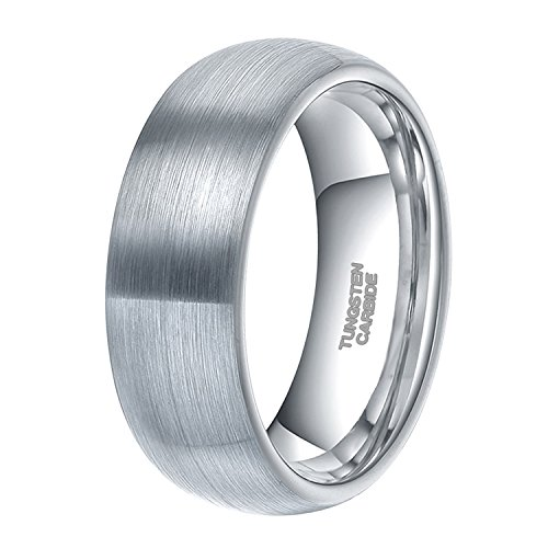 8mm Tungsten Caribde Ring for Men Dome Style Brushed Silver Engagement  Ring Comfort Fit Size 10