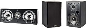 Polk Audio CS1 Series II Center Channel Speaker| Black & Audio T15 100 Watt Home Theater Bookshelf Speakers – Hi-Res Audio with Deep Bass Response | Dolby and DTS Surround | Pair, Black