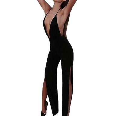 6dd0a11b7ef40a Longra Damen Sexy Jumpsuit tiefem V-Ausschnitt Jumpsuit Schwarz Neckholder  Lang Hosen Sommer Ärmellos Overall Rückenfrei Playsuit Party Clubwear  Overalls ...