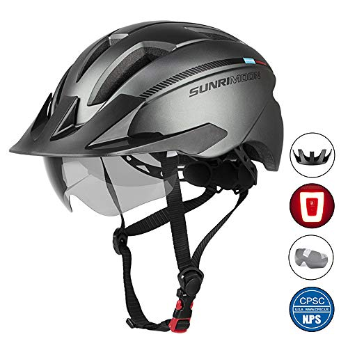 SUNRIMOON Adult Bike Helmet with Rechargeable USB Light, CPSC Certified Road & Mountain Bicycle Helmet with Magnetic Goggles & Detachable Visor Adjustable Size for Men/Women, 20.87-24 Inches- Gun Gray