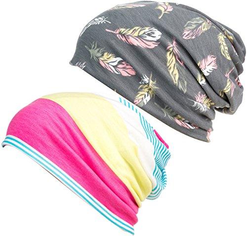 - DancMolly Print Flower Cap Cancer Hats Beanie Stretch Casual Turbans for Women (Gray+Yellow)