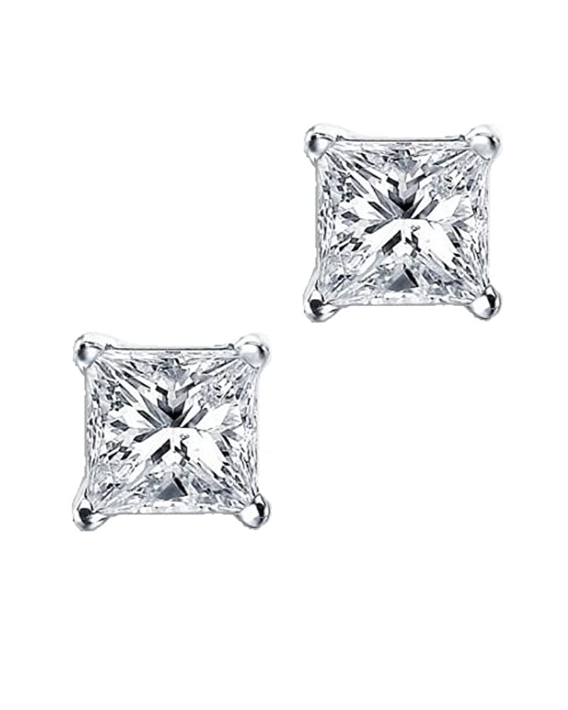 Princess Cut Square CZ Basket Set Sterling Silver Stud Earrings 5mm iJewelry2 SG-005-5mm