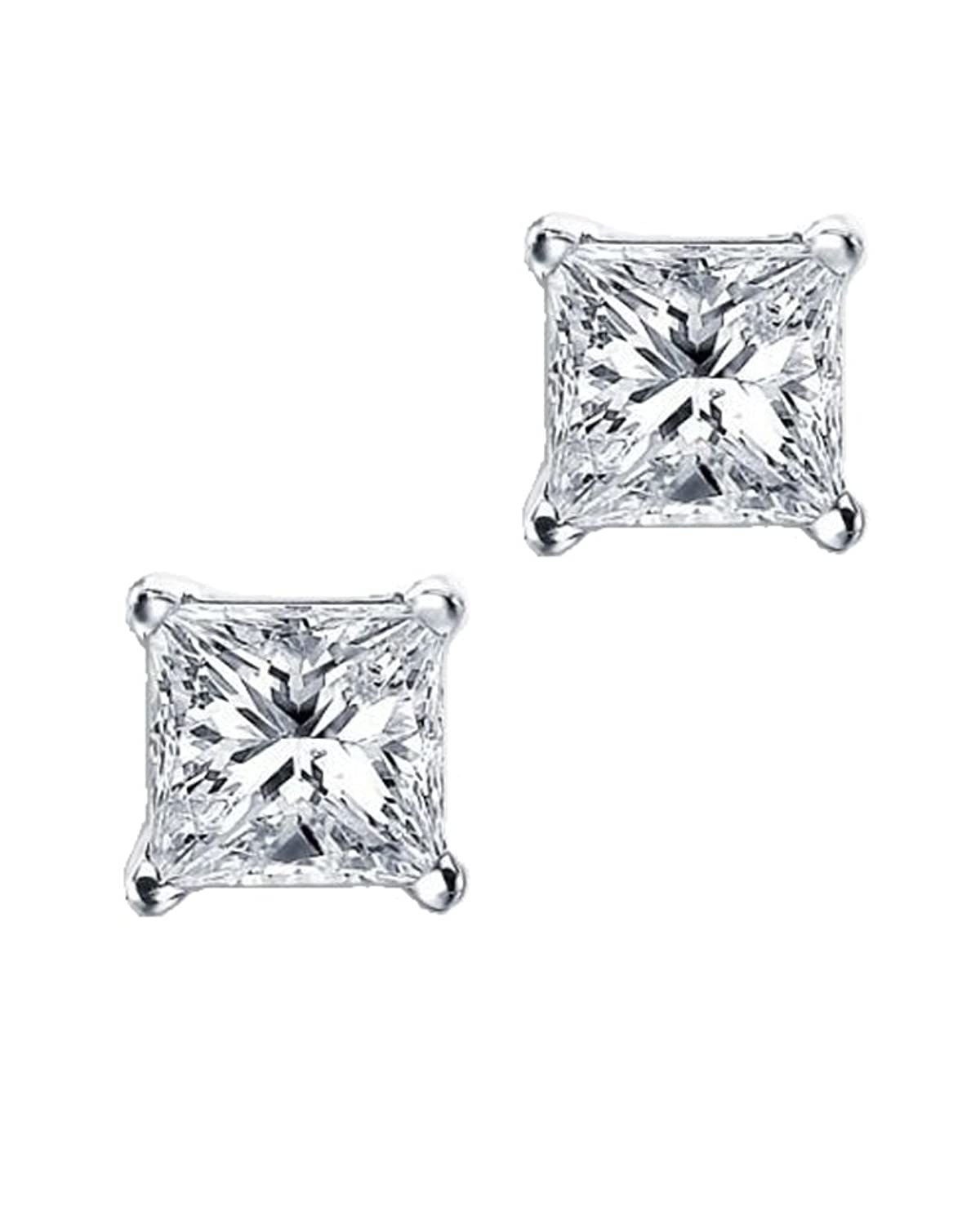 square solitaire collections princess diamonds diamond earrings i cttw j white stud gold cut