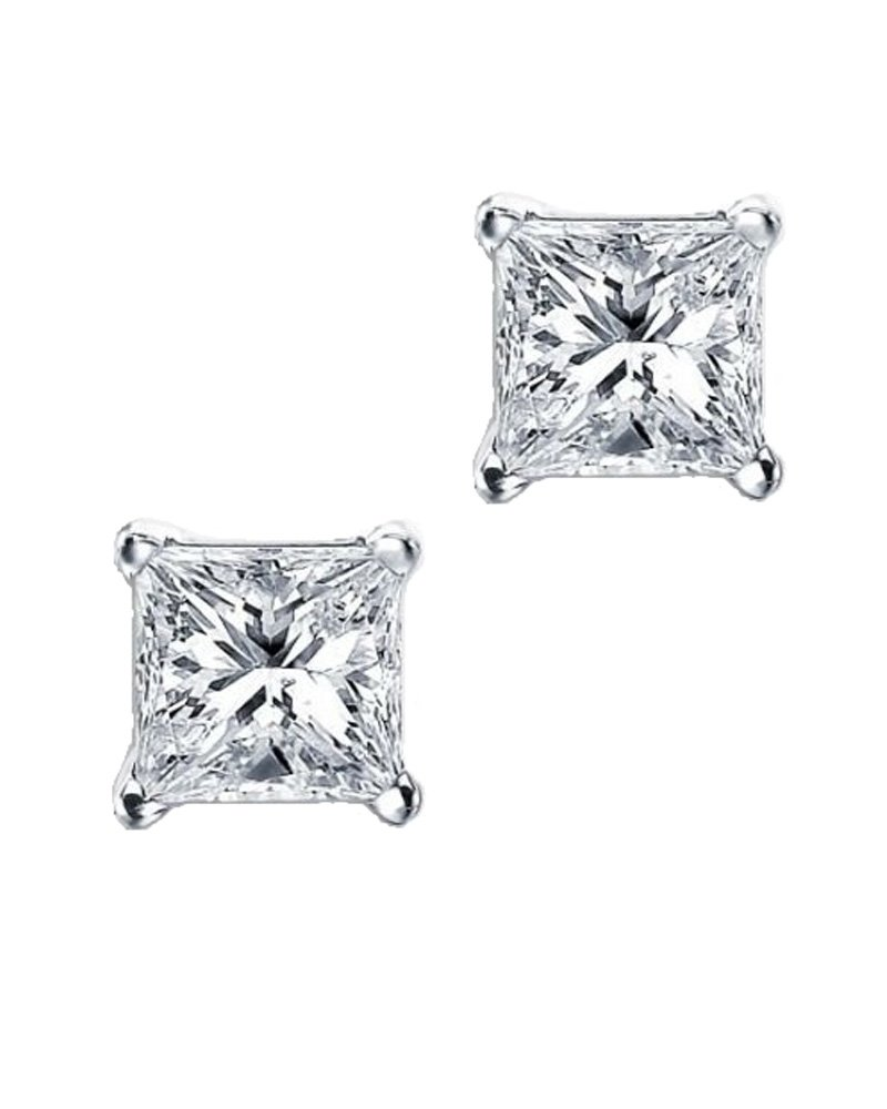 Princess Cut Square CZ Basket Set Sterling Silver Stud Earrings 11mm