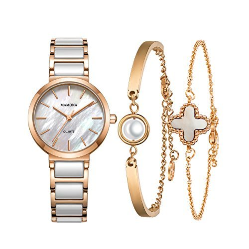 Ladies Quartz Mother Of Pearl Watch-MAMONA Rose Gold White Ceramic and Stainless Steel Women bracelet set 3876LRGT (Mother Of Pearl Womans Watch)