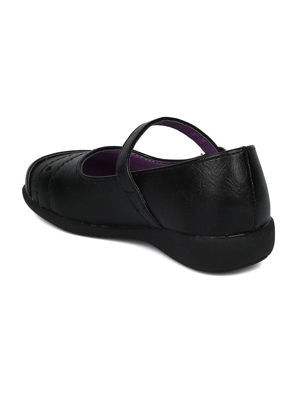 Girls Leatherette Mini Star Applique Mary Jane Uniform Shoe HD37 - Black Leatherette (Size: Big Kid 3) by Alrisco (Image #3)