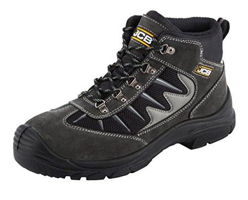 JCB 3CX/B de seguridad botas de trabajo negro o gris (tamaños 7-12) entrenador estilo de excursionista gris
