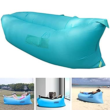 Henscoqi Outdoor Convenient Inflatable Lounger Counch Hangout Portable Air Sleeping Bag Air Sofa Air Bed for Summer Camping Beach,Blue