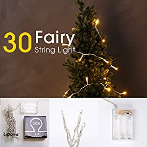 Lidore 30 Counts LED Mini String Lights. Yellow Color. Best Gift for Decoration. Battery Operated.