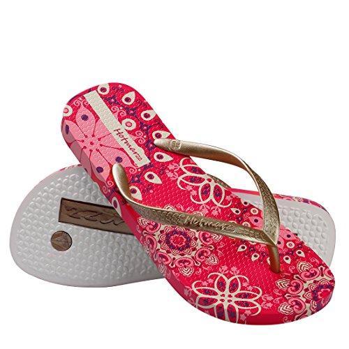 Ducha para Hotmarzz Rojo Chanclas Piscina Playa Elegante Bohemia Mujer Verano Flor Sandalias v5wqO