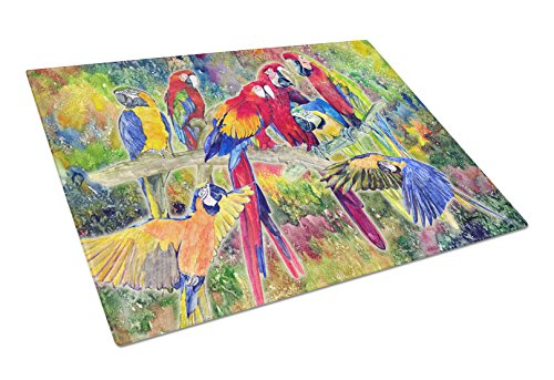 Caroline's Treasures Parrot Glass Cutting Board, Large, Multicolor