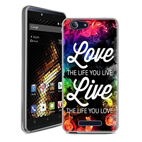 BLU Vivo XL Case, SuperbBeast Ultra Thin Slim Crystal Clear Soft Silicone TPU Rubber Protective Cover Case Skin for BLU Vivo XL Smartphone (Live the Life You Love)