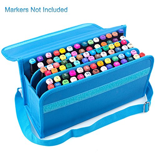 Makeup Marker Liquid - ADVcer 80 Holders Marker Pen Case, Extendable Foldable Hook & Loop Oxford Organizer with Carrying Handle and Baldric for Dry Erase Marker, Liquid Chalk Highlighter, Permanent Paint Marker or Lipscense