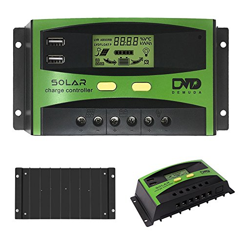 GIARIDE 30A Solar Charge Controller 24V 12V PWM Solar Panel Battery Intelligent Regulator Controller with USB Port and LCD Display ()