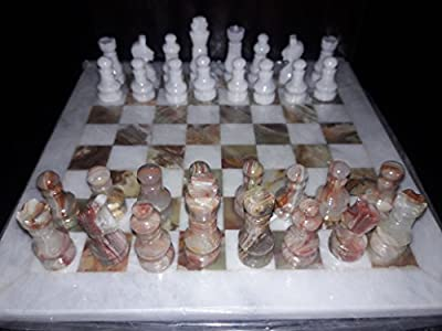 "16"" Inches Handmade White and Green Chess Set"