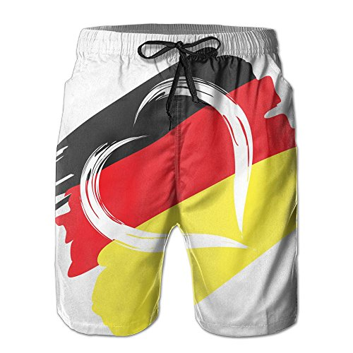 KJDS Men's German Flag with Heart Quick Dry Summer Beach Shorts Pants with Mesh Lining for Men ()