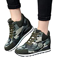 Gyoume High Ankle Boots Women Sports Boots Shoes Camouflage Lace Up Short Boots Shoes Outdoor Canvas Walking Shoes