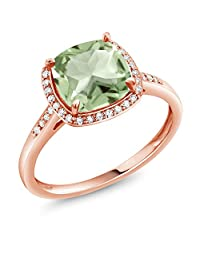 2.05 Ct Cushion Green Amethyst 10K Rose Gold Ring with Diamond Accent (Available in size 5,6,7,8,9)
