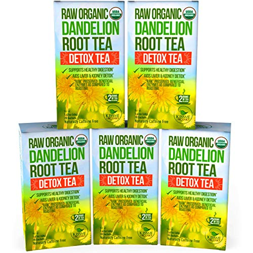 Dandelion Root Tea Detox Tea - Raw Organic Vitamin Rich Digestive - 5 Pack (100 Bags, 2g Each) - Helps Improve Digestion and Immune System - Anti-inflammatory and Antioxidant (Large Dandelion)