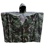 T-wilker 3 in1 Rain Poncho Waterproof Camouflage Ripstop Rain Jacket Batwing-sleeved Rain Coat with Hoods (Camo)