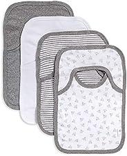 Burt's Bees Baby - Set of 4 Bee Essentials Lap Shoulder Bibs, 100% Organic Cotton, Heather Grey Var