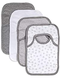 Bibs, 4-Pack Lap-Shoulder Drool Cloths, 100% Organic Cotton with Absorbent Terry Towel Backing (Heather Grey)