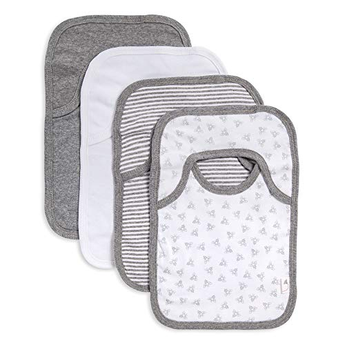 Burt's Bees Baby - Bibs, 4-Pack Lap-Shoulder Drool Cloths, 100% Organic Cotton with Absorbent Terry Towel Backing (Heather Grey)
