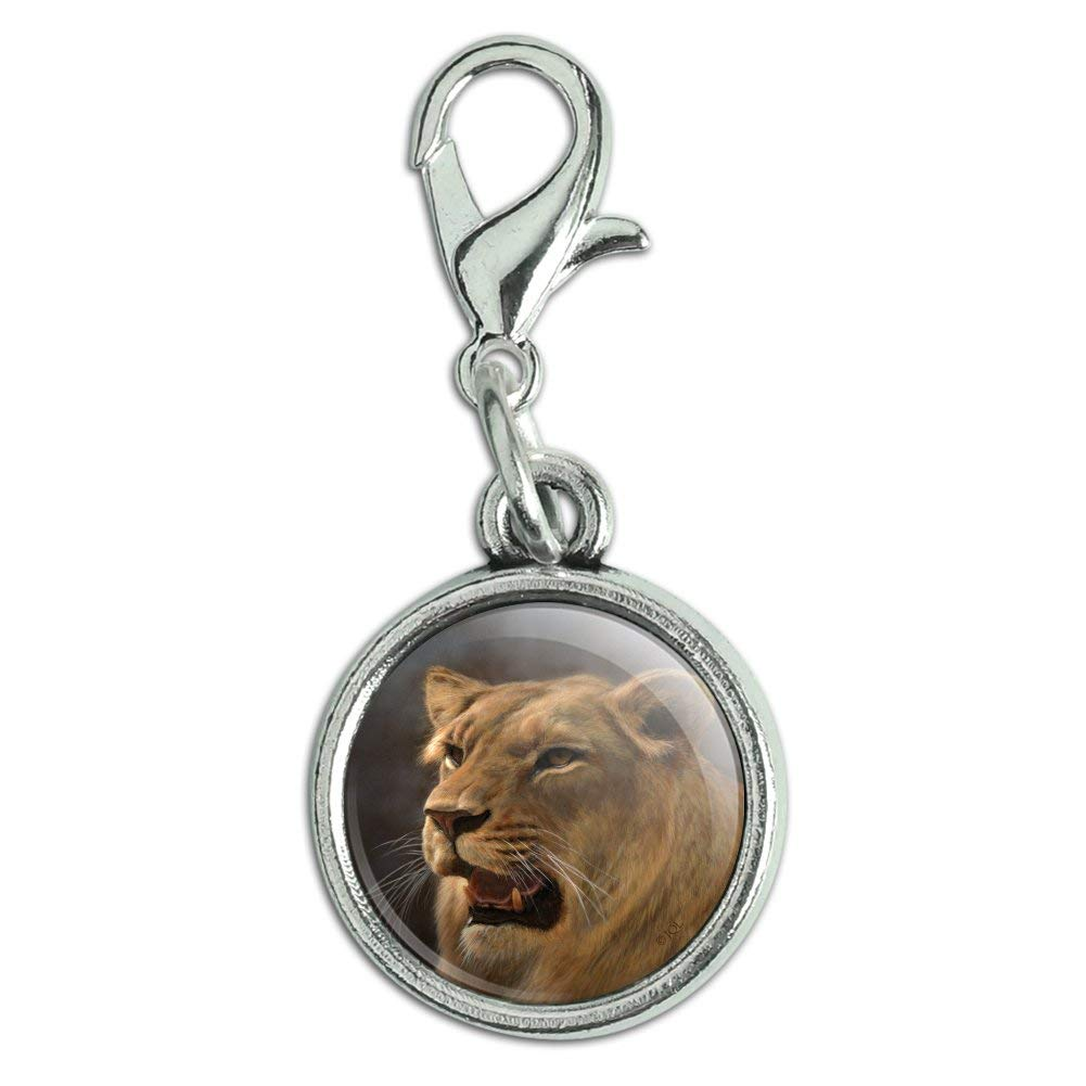 GRAPHICS /& MORE Lioness Female Lion Antiqued Bracelet Pendant Zipper Pull Charm with Lobster Clasp
