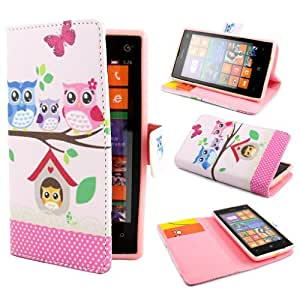 PpIiNnKk Cute Owl Design Wallet PU Leather Stand Flip Case Cover for Nokia Lumia 520