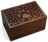 StarIndiaCraft Rosewood Pet Urn Peaceful Pet Memorial Keepsake Urn - A Perfect Handcarved Cremation Urn for Dogs,Cats - Pets, Keepsake Urns for Ashes, Wooden Box Burial Urn (9x6x5-180 Cu/in)