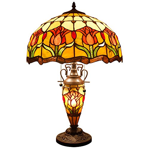 Tiffany Style Reading Table Beside Lamp Light 24 inch Tall Red Tulip Flower Stained Glass Shade 3 Bulb Night Light Base for Girlfriend Living Room Bedroom S030 WERFACTORY