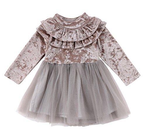 StylesILove Little Girls Long Sleeve Ruffle Trim Velvet Tutu Dress (90/6-12 Months, Grey) ()