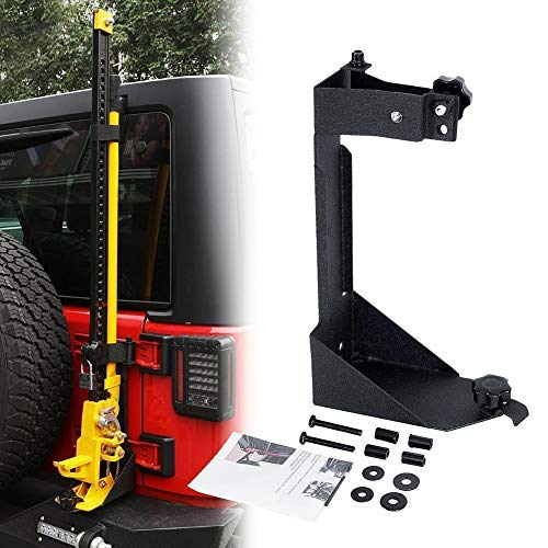 HEQIANG High Lift Jack Mount Rear Hi Lift Jack Carrier Tailgate Mounting Bracket for Jeep Wrangler JK 2007-2017 Offroad