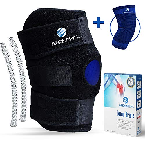 Arrow Splints Knee Brace for Meniscus Tear | Also for Arthritis, PCL, Tendonitis, ACL, MCL, Torn Ligament, LCL, Runners Knee | for Men & Women + Knee Compression Sleeve for Sport Injuries & Running