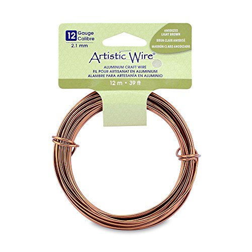 Artistic Wire 12 Gauge Round Anodized Aluminum Craft Wire, 39.3', Light -