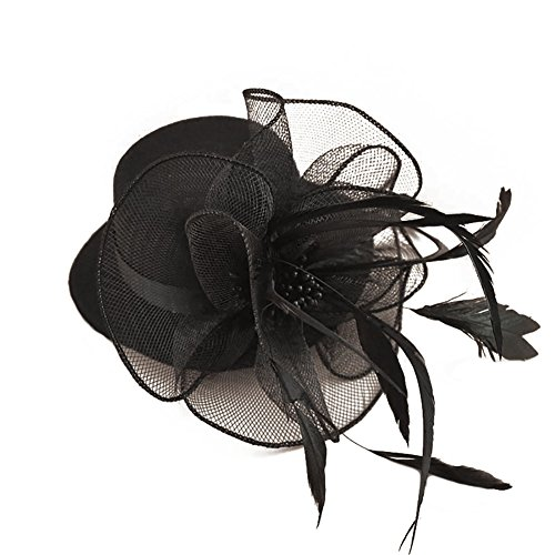 (BAOBAO Flower Mesh Net Fascinators Hair Clip Mini Top Hats for Wedding Party Headwear, #1-black)