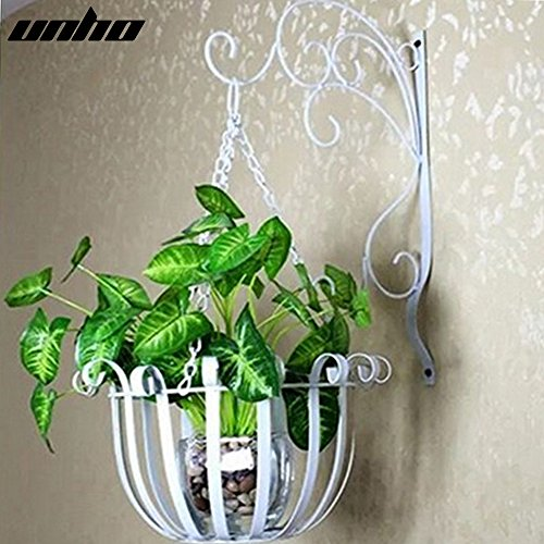 UNHO 2 Sets of Home Decor Plant Wall Mount with Holder Hanger Plant Container Indoor or Outdoor Flower Pot Holder Basket White