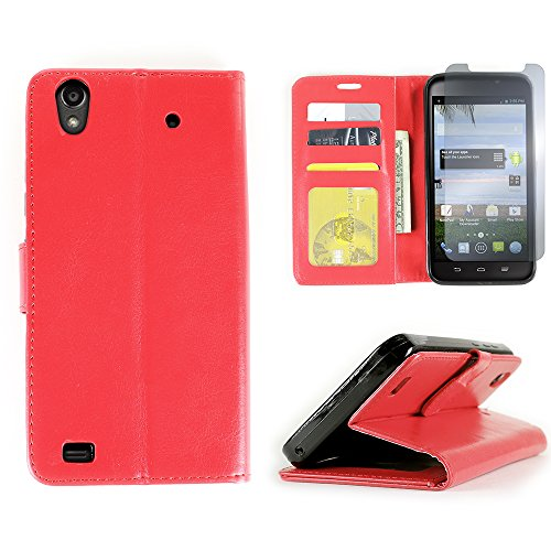 CoverON for ZTE Quartz Z797C Wallet Case [CarryAll Executive Series] Synthetic Leather Flip Credit Card Phone Cover Pouch ( Red ) + Clear LCD Screen Protector
