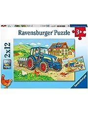 Ravensburger 07616-2x12 bitar Barnpussel från 3 år - perfekt ålderspassning - Hårt arbete - en rolig aktivitet för familjen och barnen