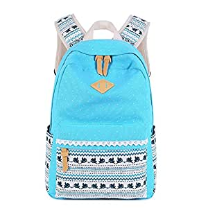 Waterproof Floral Backpack Handbag Travel School Bag for Girls and Women(Azure One Size)