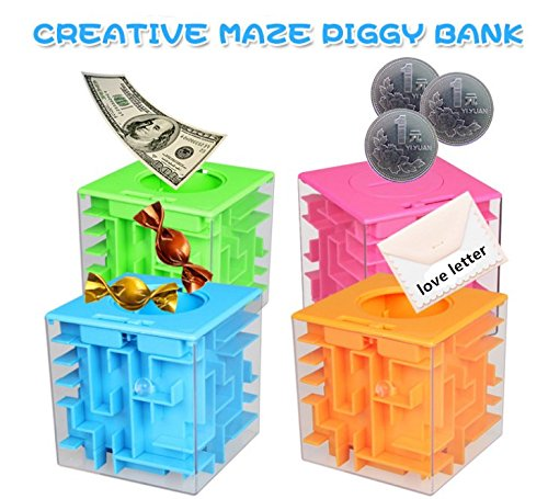 Oriental eLife Maze Piggy Bank Honeycomb Maze Puzzle Box for Kids and Adults Funny Birthday Gift (Blue)