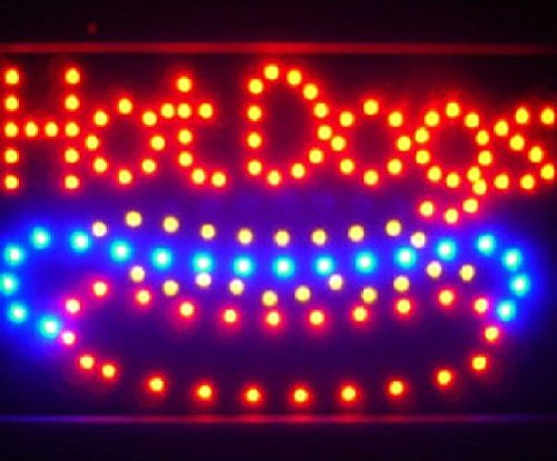 unbrand 10 19 Animated Motion LED Hot Dogs Sign OnOff Switch Bright Open Light Neon