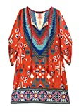 Women Bohemian Neck Tie Vintage Printed Ethnic Style Summer Shift Dress (2XL, Pattern 4)
